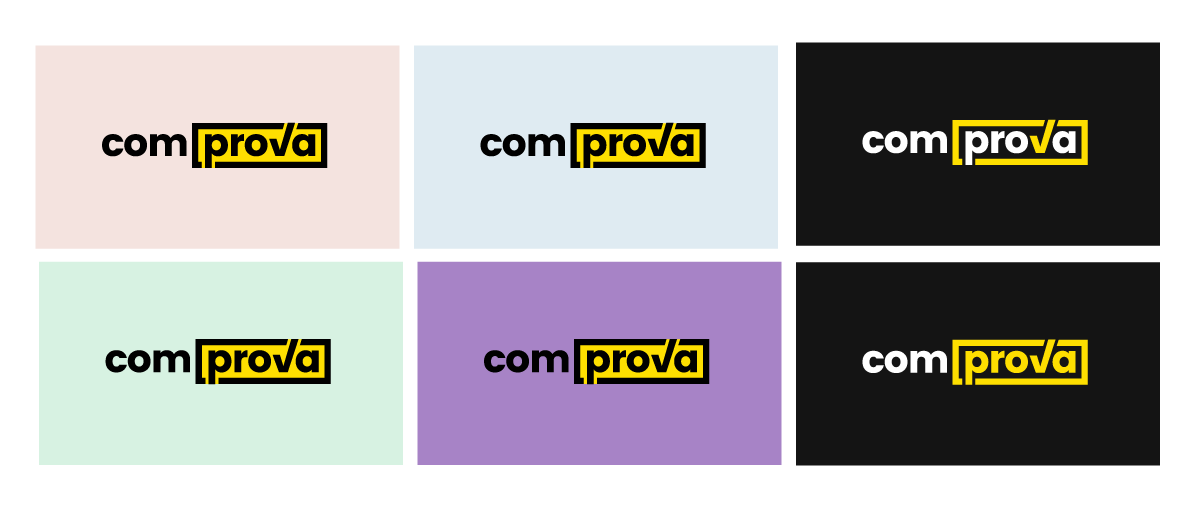 Comprova logo on different backgrounds