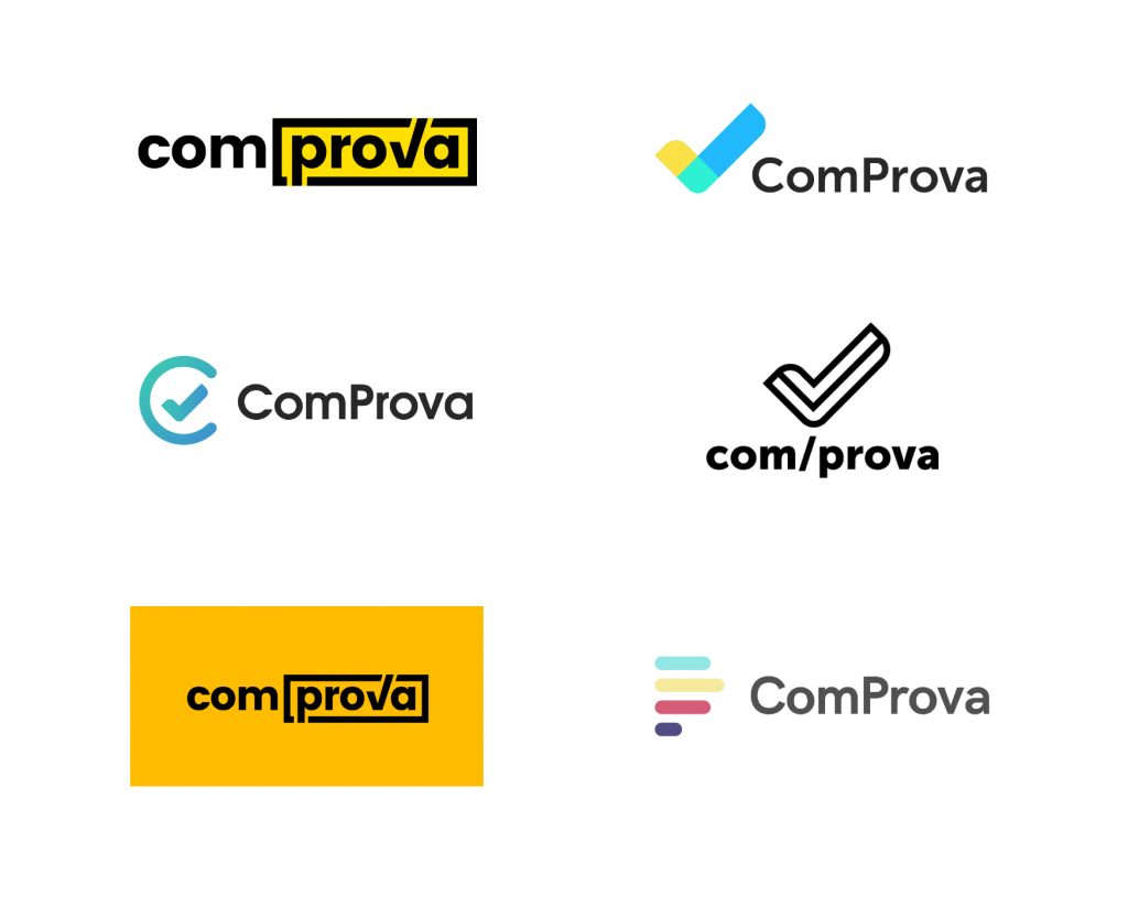 Six Comprova logo ideas