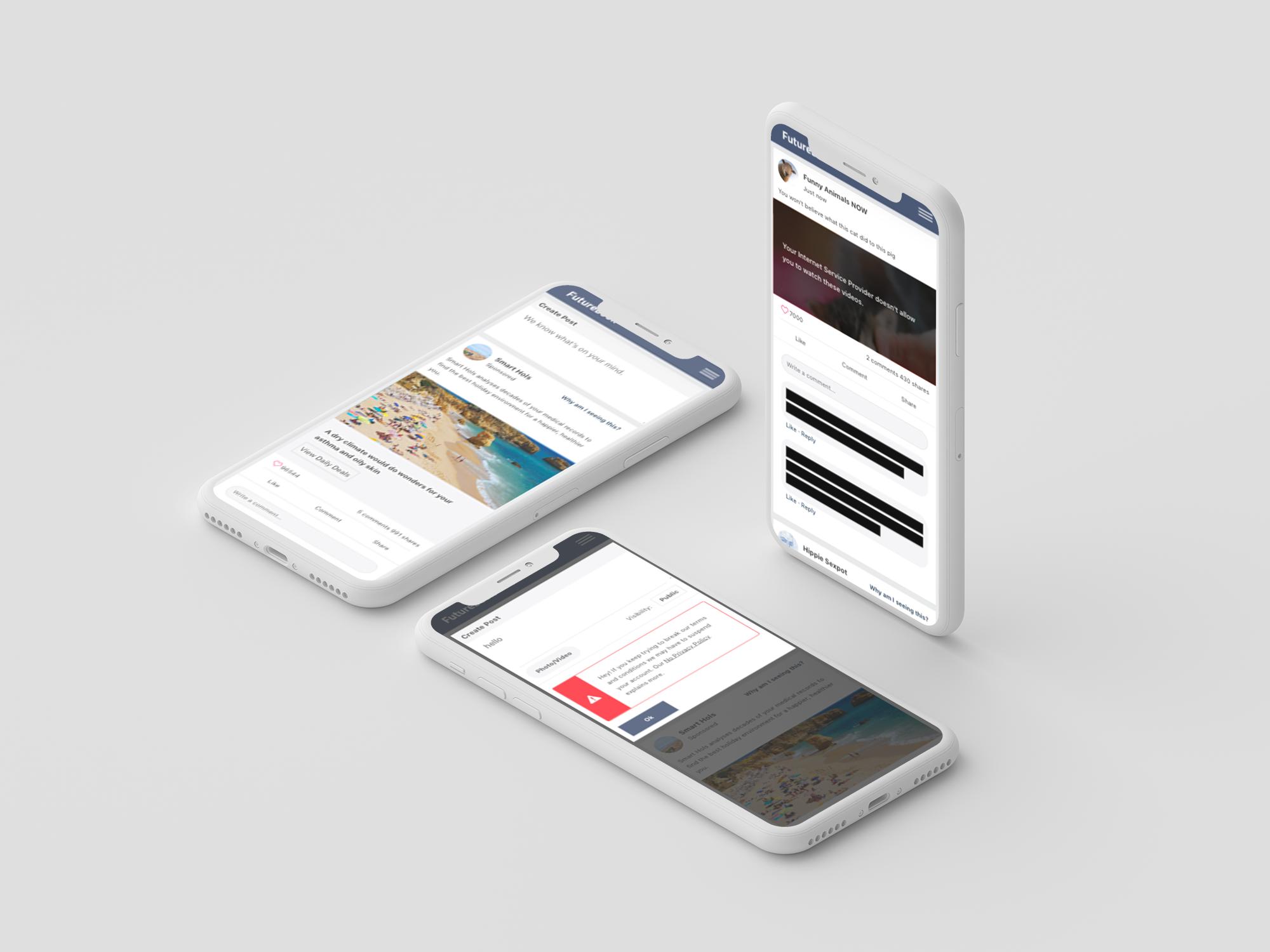 Different Futurebook screens on mobile